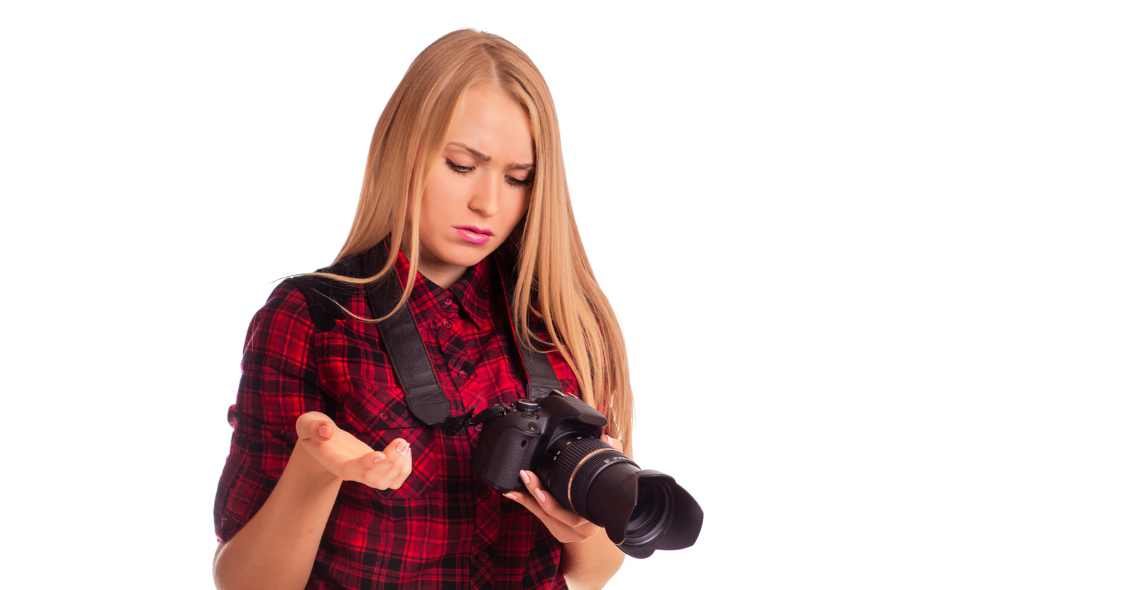 Female-Photographer-Having-Trouble-With-Camera